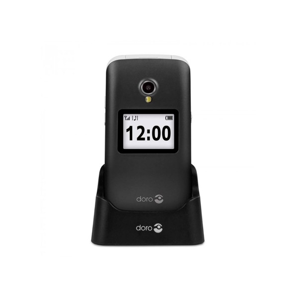 Doro 2424 negro blanco móvil senior 2.4'' pantalla de notificaciones cámara 3mp bluetooth radio fm micro sd incluye base de carga