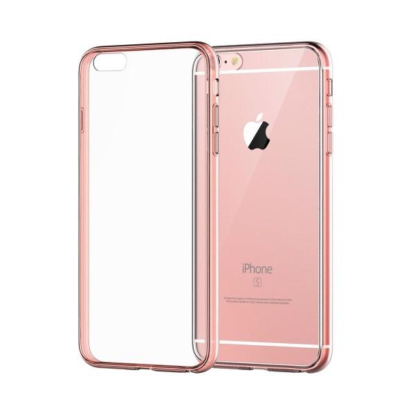 Jc carcasa transparente con borde rosa apple iphone 6s/6